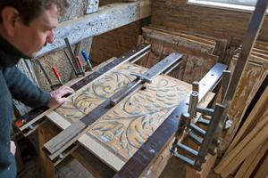 Die historischen Holzdecken wurden vor Ort repariert