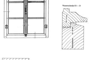 Skizze des Segmentbogenfenster mit Detailschnitten durch die Kanteln<br />