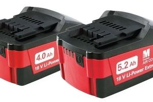 Bei Metabo sind alle 18-Volt-Akkupacks mit 1.5, 4.0 und 5.2 Ah mit allen Maschinen derselben Voltklasse sowie auch mit allen Ladegeräten kompatibel