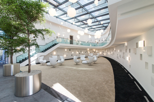 Blick in das ovale Atrium nach Fertigstellung