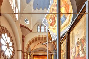 Die Farbgebung des Kaisersaals im Dom von Speyer orientiert sich an Vorlagen aus dem 19. Jahrhundert<br />Foto: Caparol / Martin Duckek