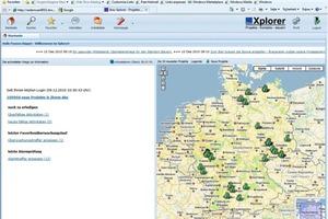 Screenshot Xplorer: Beim Abgleich mit den Eingabewerten zeigt der Xplorer die möglichen Baustellen über Deutschland verteilt