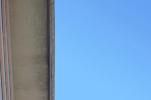 Am Dachüberstand des Nebengebäudes ist der Schimmelpilzbefall besonders gut zu erkennen<br />Foto: Marc Göbelsmann