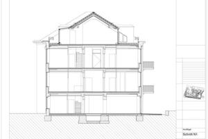 Schnitt Haus 1, Maßstab 1:250 (je Farbe eine Wohnung)