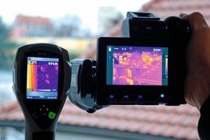Display-Vergleich: die Flir i7 Infrarotkamera (links) produziert zwar ein qualitativ hochwertiges Wärmebild, kann aber mit dem Detailreichtum, den die große T640 bietet (rechts) nicht mithalten<br /><br />