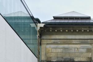 Fassadendetail: Anschluss des Neubaukörpers an den Bestand<br />
