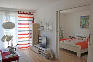 Die Wohnungen im betreuten Wohnen sind hell und offen gestaltet