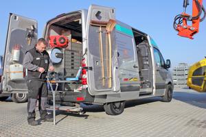 Für den Service an Baumaschinen setzt DiTec einen VW Crafter ein. Auch hier wurde die Inneneinrichtung von Aluca exakt angepasst