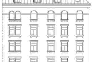 Rechts: Die Ansicht von Norden zeigt die unterschiedlichen Fensterformen, Maßstab 1:300