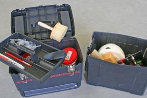 Werkzeugkoffer mit Glättkellen, Bürsten, Farbwalzen, Abzieher, Effektschwamm, Maserierwerkzeug und vielem mehr