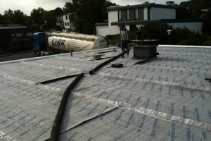 Das alte Flachdach wurde saniert und mit Substatauftrag zu einem Gründach<br />