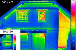 Größen- und Qualitätsvergleich: Thermogramm einer Einsteigerkamera mit 120 x 160 und einer Profikamera mit 640 x 480 Pixel Detektorauflösung