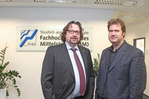 """Handwerksunternehmer brauchen heute auch fundierte betriebswirtschaftliche Kenntnisse sind sich Michael Brücken, Studien- und Weiterbildungsberater der HWK zu Köln (links) und Prof. Dr. Sascha Lord, Leiter der FHM Köln, einig<span class=""""bildnachweis"""">Fotos: Thomas Schwarzmann</span>"""