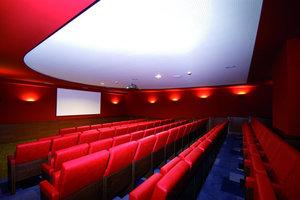 Selbst die Kinoleinwand erstellten die Handwerker in Trockenbauweise