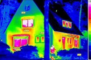 Thermografieaufnahme eines Einfamilienhauses