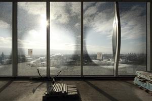 Hafenseite ... wer möchte sich hinterher noch auf Musik konzentrieren? Die Glasflächen sind aus Sonnenschutzgründen mit Punkten bedruckt<br />