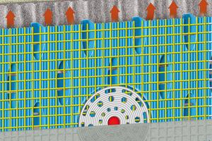 Die armierte Bekleidungsträgermatte CeraVent bildet eine Belüftungsschicht, die anfallenden Wasserdampf abführt, bevor es zu Schäden an der keramischen Bekleidung kommen kann