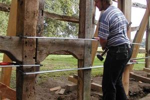 Restaurierung der Fachwerkkonstruktion<br /> Foto: Fachwerkstatt Drücker &amp; Schnitger