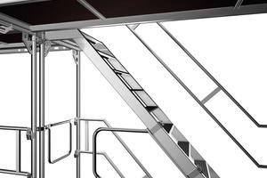 Das einteilige Treppen-Umlaufgeländer reduziert Montagezeit und -kosten für den Gerüstbauer<br /><br />