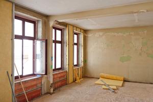 Teilansicht der Innendämmung während der Sanierungsarbeiten<br />