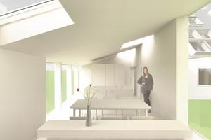 Der Neubauriegel zeichnet sich durch eine offene Raumaufteilung mit Wohn-, Koch- und Essbereichen aus