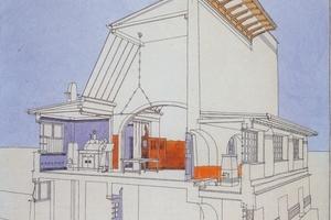 Perspektivischer Schnitt durch das 1901 erbaute Ernst Ludwig Haus<br />