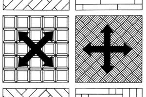 Die unterschiedlichen Parkett- und Dielenverbände müssen beim Vorschliff in unterschiedlichen Richtungen geebnet werden (oben); für eine gute Optik durch den Feinschliff sind ebenfalls entsprechende Schleifrichtungen einzuhalten (unten)<br />