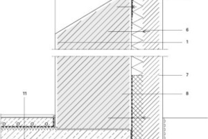 1Wandaufbau: Außenputz, Vormauerwerk, Dämmung, Putz + Mauerwerk (Bestand)2 Sturz Vormauerwerk 3 Putzträgerplatte 4 Holzfenster 5 Fensterbrett Faserbeton 6 Halterungsanker 7 Sperrschicht 8 Wandaufbau Sockel: Wasserabweisender Anstrich, Außenputz, Vormauerwerk,  Perimeterdämmung, Abdichtung, Putz + Mauerwerk (Bestand)9 Wandaufbau unterirdisch mit Noppenfolie und Bitumenanstrich (sonst wie Sockel) 10Stahlbetonkonsole 11Bodenaufbau: Holzboden, Heizestrich, Trennlage, Trittschalldämmung,   Stahlbetonplatte, Druckfeste Dämmung, Magerbeton, Kieskoffer