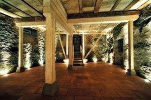 Der 1536 erbaute Hochkeller unter dem östlichen Teil des Hauses nimmt das Unter- und das Erdgeschoss ein. Die Lasten der Saaldecke vom ersten Obergeschoss werden von einem Tragsystem aus Vollholz abgefangen<br />