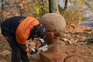 Währen die Gäste im Hambacher Schloss den Vorträgen lauschten, fertigte draußen ein Künstler mit einer Kettensäge eine Skulptur an ...<br />