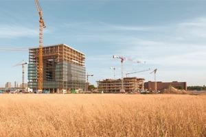 Blick auf die Baustelle: Das neue ThysenKrupp Quartier wächst mit einem Stahlbeton-Skelett in die HöheFoto: ThyssenKrupp