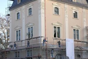 Die historische Fassade der Anna Amalia Bibliothek in Weimar wurde nach dem schlimmen Feuer im Jahr 2004 denkmalgerecht mit Silikatfarben restauriert