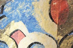 Detail der Reinigungsarbeiten an der Farbfassung der Decke