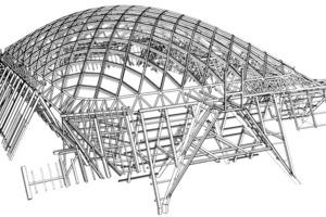 Zeichnung: Anbindung der frei tragenden Stabwerkskuppel an die Dachstühle der den Hof bildenden Gebäude<br />