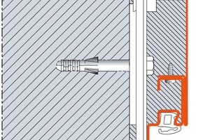 Schnittzeichnung: Die zweischalige Umfassungszarge erlaubt eine unsichtbare Befestigung auch auf Mauerwerk und Sichtbeton<br />
