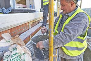 Bis zu 3000 Tonnen an Trasskalkmörtel wurden auf der Baustelle am Berliner Schloss verarbeitet