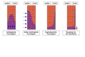Feuchtigkeitsverteilung im Mauerwerk abhängig von der Beanspruchung