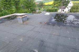 Das Flachdach vor Beginn der Sanierungsarbeiten<br />