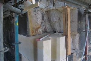 Großvolumige Schäden wurden durch passgenau gearbeitete neue Formteile geschlossen