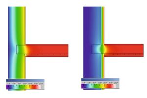 Messungen und Berechnungen der Temperaturverläufe zeigen, dass mit der Montage einer Innendämmung die innenseitige Oberflächentemperatur der sanierten Gesamtwand ansteigt