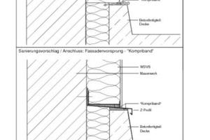 Sanierungsvorschlag bei einem Fassadenvorsprung über einen Anschluss mit Kompriband und Z-Profil