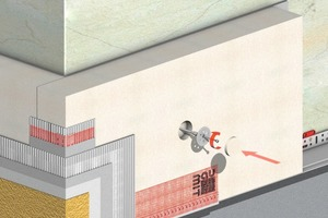 Aufbau eines WDVS mit Kratzputzoberbeschichtung: Im Vergleich zu dünnschichtigen Oberputzen erhöht sich beim Kratzputz die mechanische Belastbarkeit und der Schutz gegen thermische und hygrische Belastungen<br />