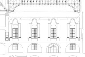 Längsschnitt durch den Steinernen Saal Bauaufnahme: Tilmann Kohnert