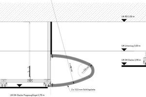 """Schnitt der Tragflächenkonstruktion des """"Flugzeugflügels""""<br />"""