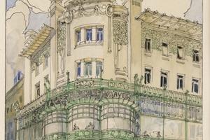 Zeichnung des Cafés Niedermeyer in Troppau<br />