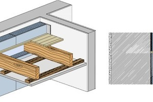 Die ThermoPlatte, die zusätzlich in die Gefache zwischen die Holzbalken verlegt wird, sorgt für einen maximalen Schutz der gesam- ten Deckenkonstruktion