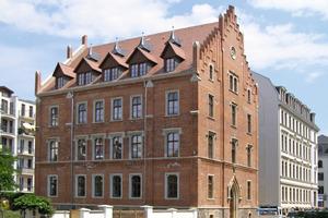 Das Mitte des 19. Jahrhunderts in der Leipziger Seeburgstrasse im neugotischen Stil erbaute Gebäude nach Abschluss der Sanierungs- und Umbauarbeiten<br />