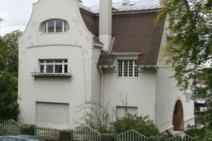 Eines der weitgehend original erhaltenen Künstlerhäuser der Mathildenhöhe ist das 1901 nach Plänen von Olbrich erbaute Große Haus Glückert<br />