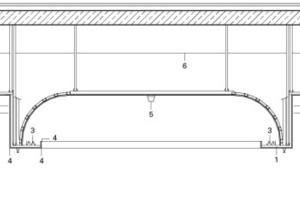 Detailschnitt Decke, Maßstab 1 : 50 1Abgehängte GK-Decke2Akustikdecke3Beleuchtungskörper4Eckschutzprofile5Rauchmelder6Unterkante Nebenträger7Schutzschiene8GK-Schott9L-Metallprofil10UPE 12011Schattenfuge