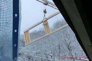 Anlieferung der vorgefertigten Holzrahmen für die Dachgauben